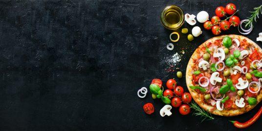 pizza con ingredientes naturales y sin gluten
